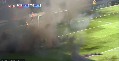 Twente-NAC gestaakt door wangedrag supporters