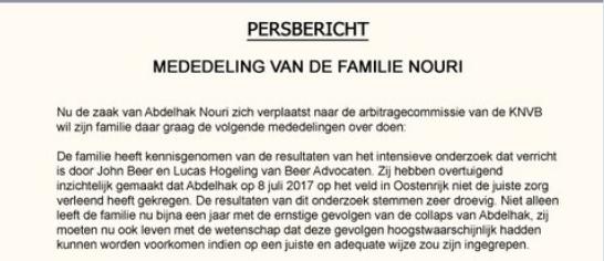 Familie Nouri stapt naar arbitrage-commissie
